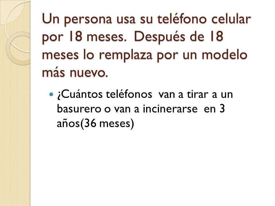 Un persona usa su teléfono celular por 18 meses.