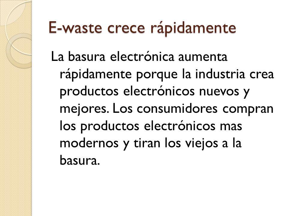 E-waste crece rápidamente La basura electrónica aumenta rápidamente porque la industria crea productos electrónicos nuevos y mejores.