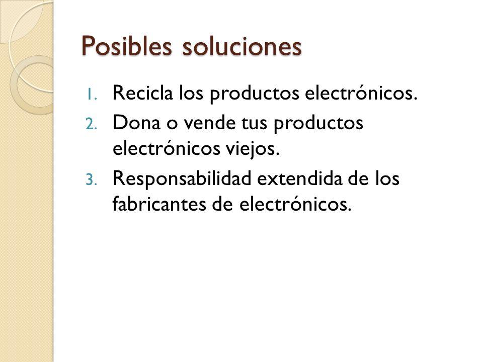 Posibles soluciones 1. Recicla los productos electrónicos.