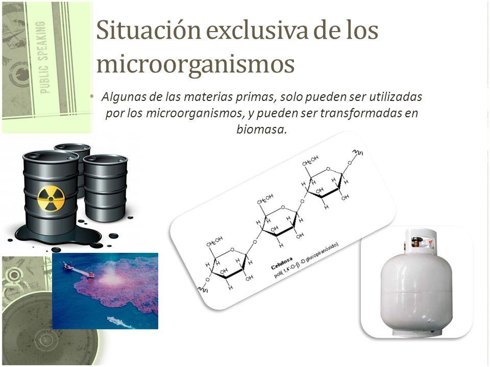 Situación exclusiva de los microorganismos Algunas de las materias primas, solo pueden ser utilizadas por los microorganismos, y pueden ser transforma