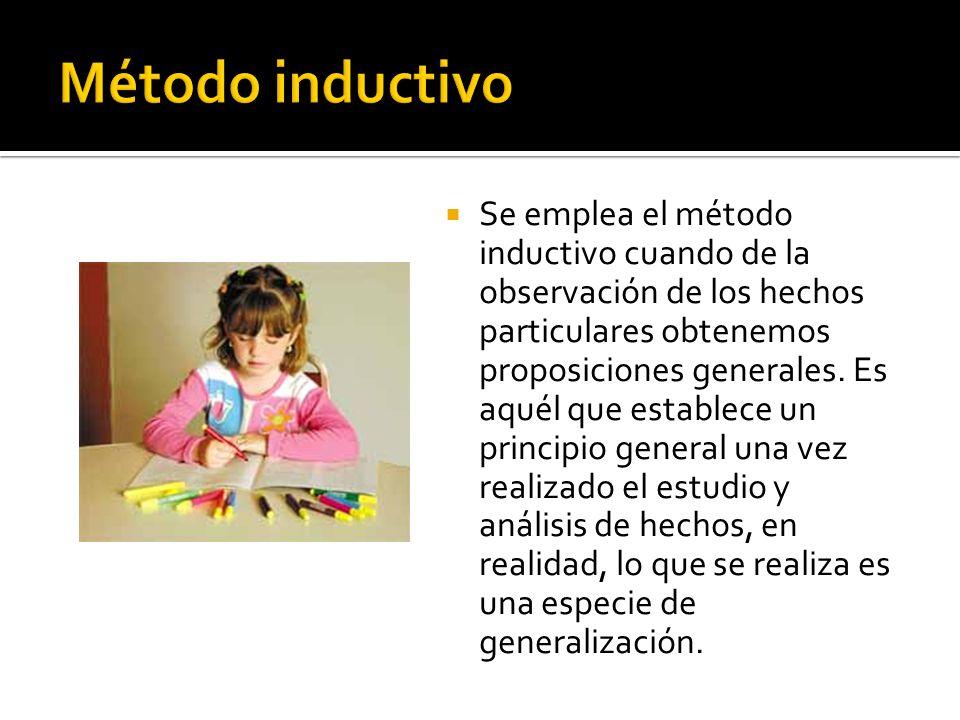 Se emplea el método inductivo cuando de la observación de los hechos particulares obtenemos proposiciones generales. Es aquél que establece un princip