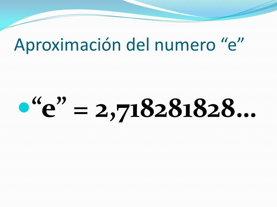Aproximación del numero e e = 2,718281828…