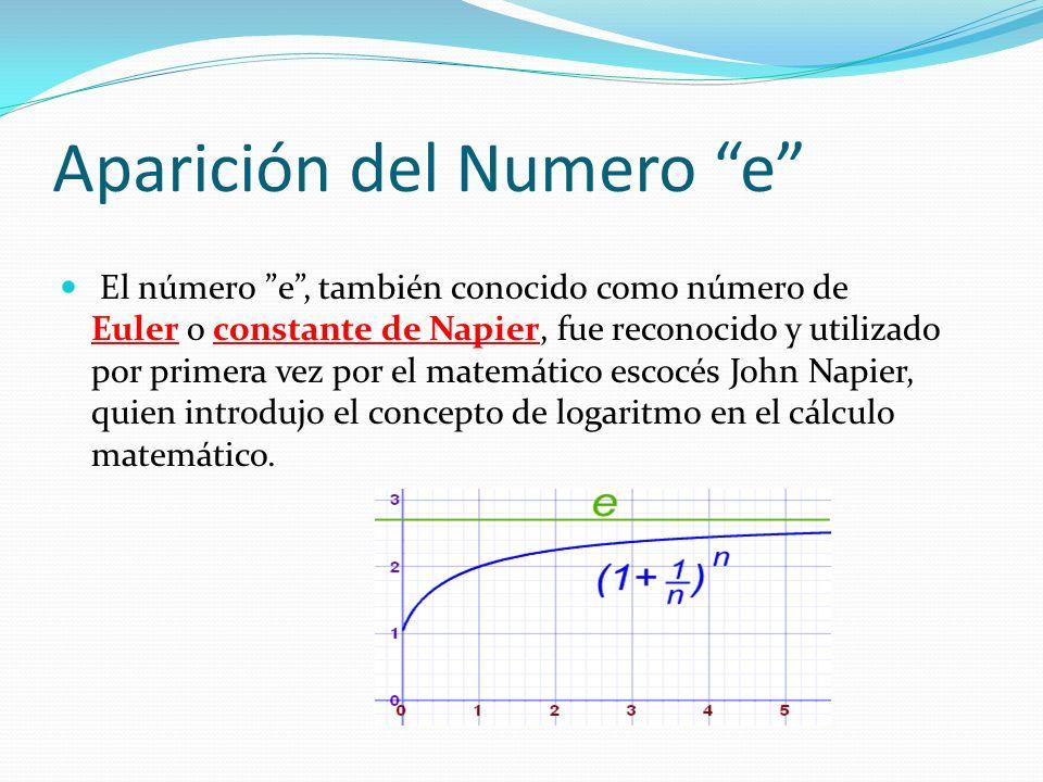 Aparición del Numero e El número e, también conocido como número de Euler o constante de Napier, fue reconocido y utilizado por primera vez por el matemático escocés John Napier, quien introdujo el concepto de logaritmo en el cálculo matemático.