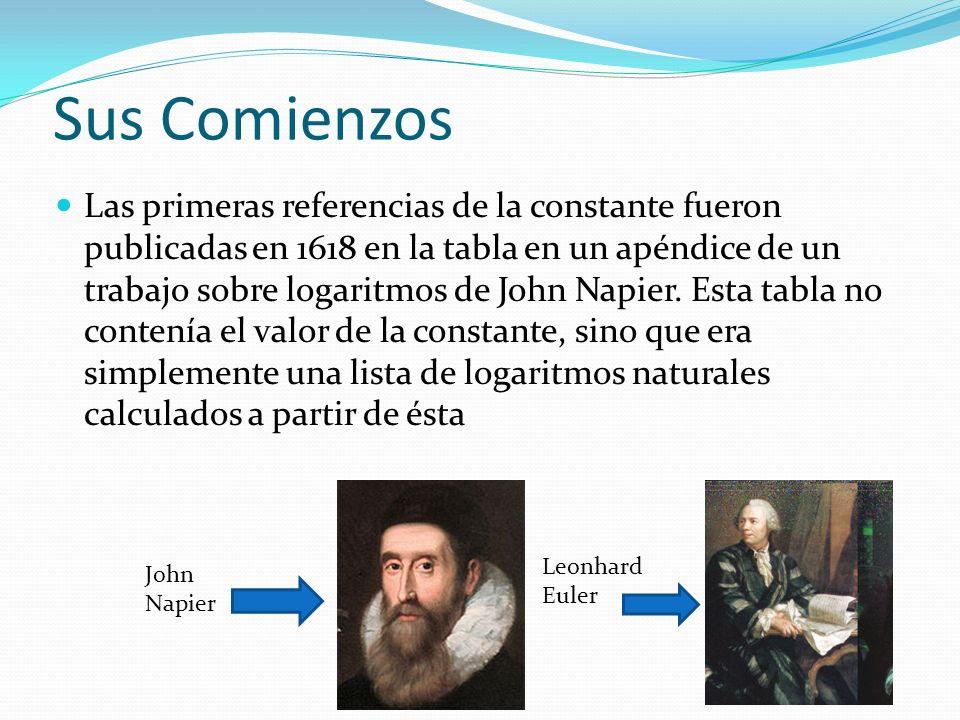 Sus Comienzos Las primeras referencias de la constante fueron publicadas en 1618 en la tabla en un apéndice de un trabajo sobre logaritmos de John Napier.
