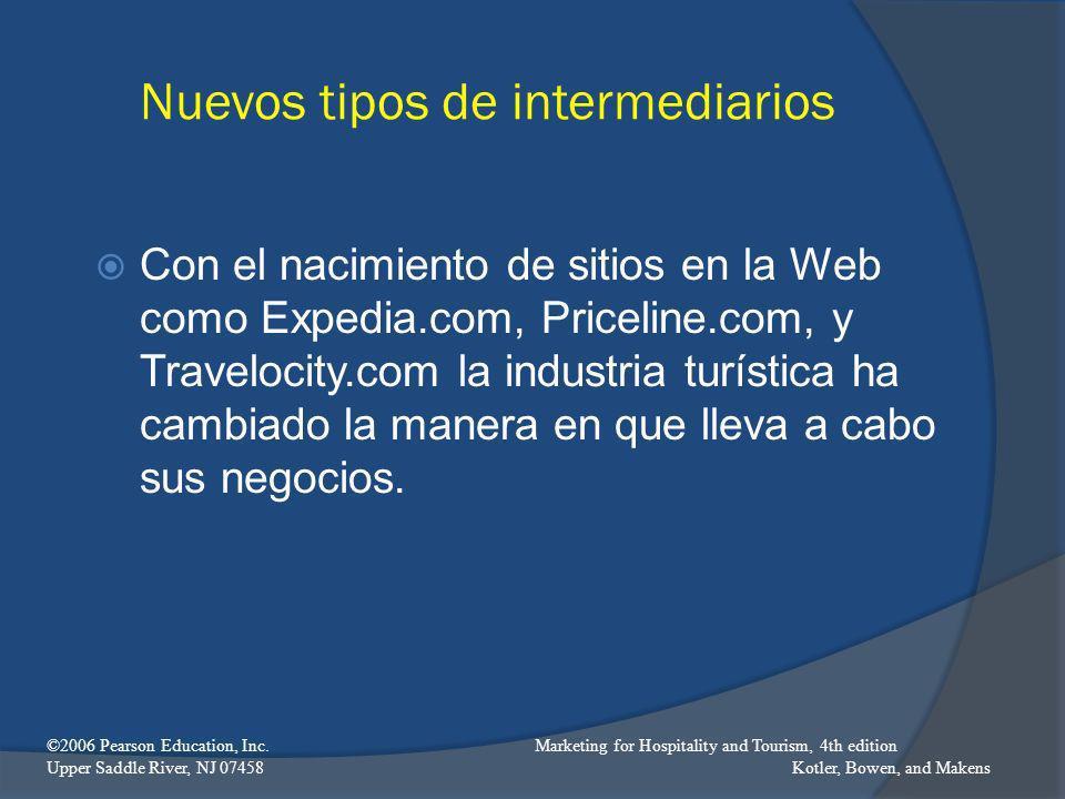 Nuevos tipos de intermediarios Con el nacimiento de sitios en la Web como Expedia.com, Priceline.com, y Travelocity.com la industria turística ha camb