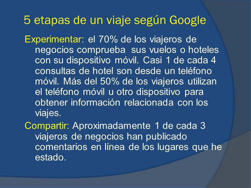 Experimentar: el 70% de los viajeros de negocios comprueba sus vuelos o hoteles con su dispositivo móvil. Casi 1 de cada 4 consultas de hotel son desd