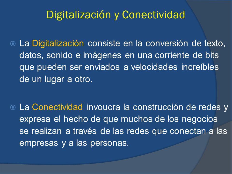 Digitalización y Conectividad La Digitalización consiste en la conversión de texto, datos, sonido e imágenes en una corriente de bits que pueden ser enviados a velocidades increíbles de un lugar a otro.