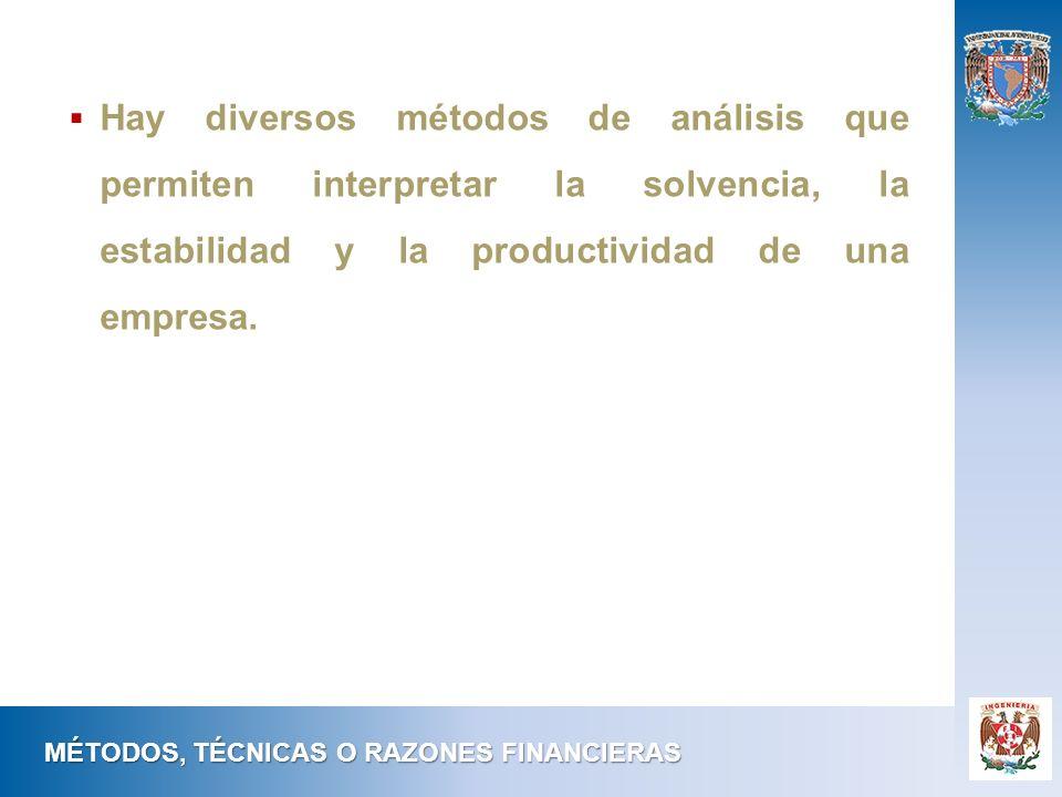 MÉTODOS, TÉCNICAS O RAZONES FINANCIERAS Hay diversos métodos de análisis que permiten interpretar la solvencia, la estabilidad y la productividad de u