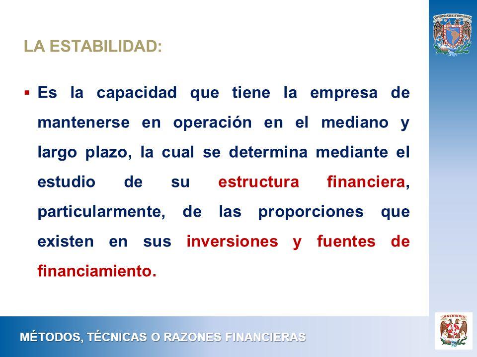 MÉTODOS, TÉCNICAS O RAZONES FINANCIERAS LA ESTABILIDAD: Es la capacidad que tiene la empresa de mantenerse en operación en el mediano y largo plazo, l