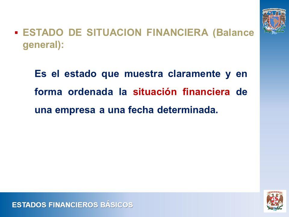ESTADO DE SITUACION FINANCIERA (Balance general): ESTADOS FINANCIEROS BÁSICOS Es el estado que muestra claramente y en forma ordenada la situación fin