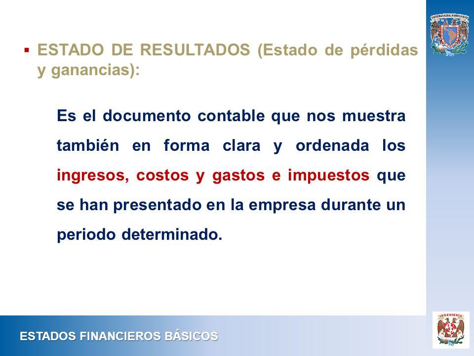 Es el documento contable que nos muestra también en forma clara y ordenada los ingresos, costos y gastos e impuestos que se han presentado en la empre