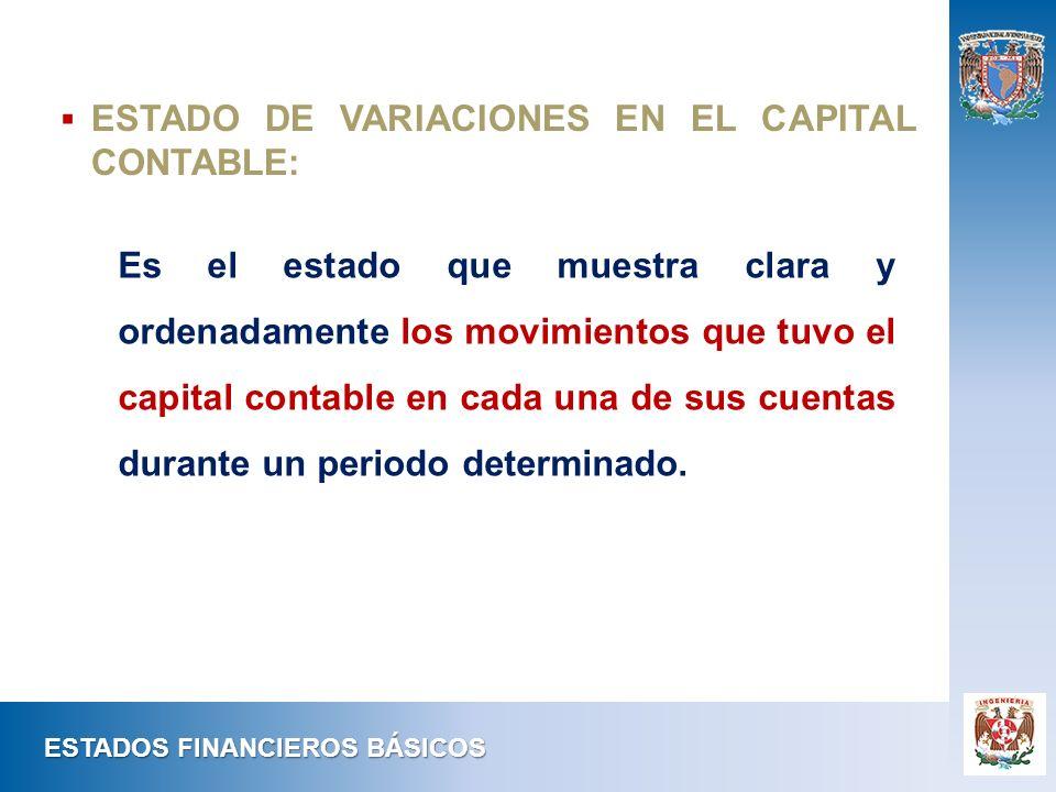 Es el estado que muestra clara y ordenadamente los movimientos que tuvo el capital contable en cada una de sus cuentas durante un periodo determinado.