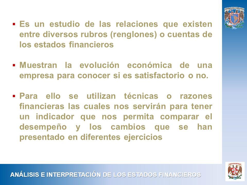 ANÁLISIS E INTERPRETACIÓN DE LOS ESTADOS FINANCIEROS Es un estudio de las relaciones que existen entre diversos rubros (renglones) o cuentas de los es