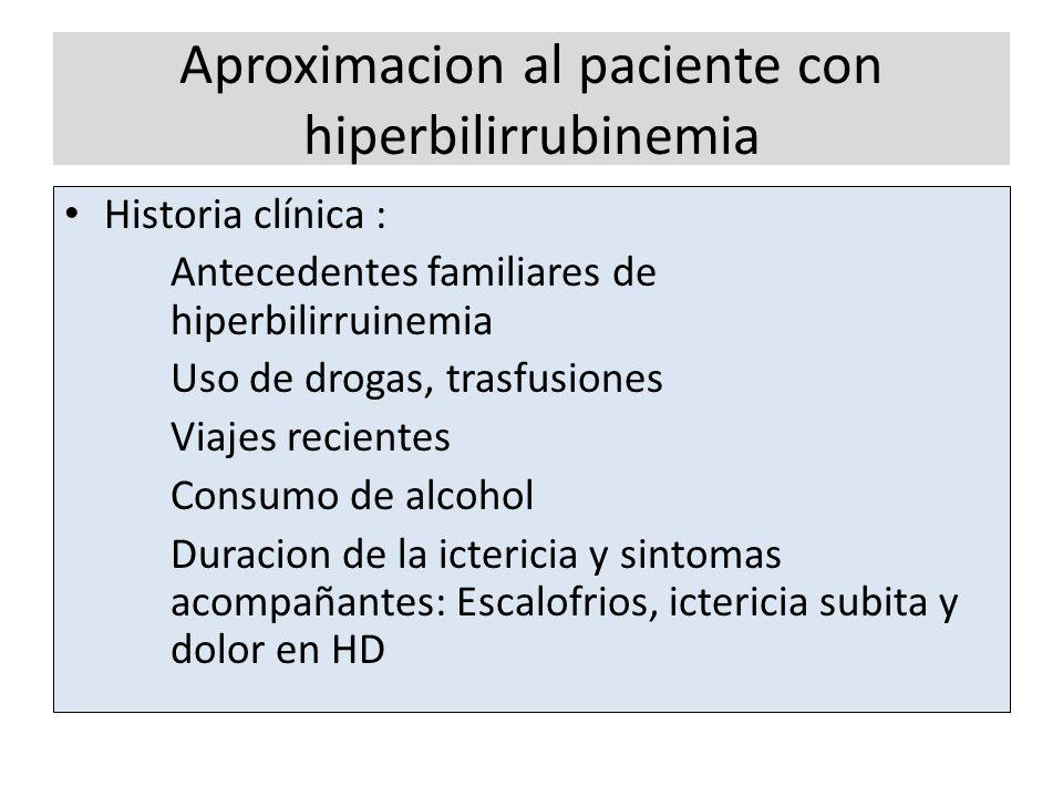 Aproximacion al paciente con hiperbilirrubinemia Historia clínica : Antecedentes familiares de hiperbilirruinemia Uso de drogas, trasfusiones Viajes r