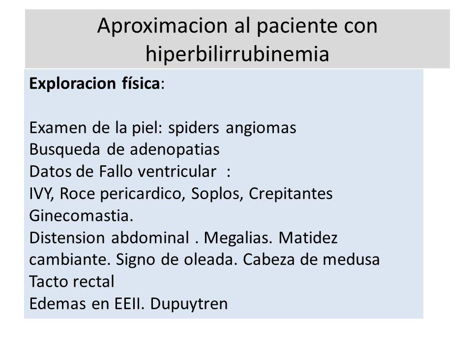 Aproximacion al paciente con hiperbilirrubinemia Exploracion física: Examen de la piel: spiders angiomas Busqueda de adenopatias Datos de Fallo ventri