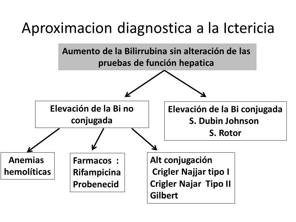 Aproximacion diagnostica a la Ictericia Elevación de la Bi no conjugada Anemias hemolíticas Farmacos : Rifampicina Probenecid Alt conjugación Crigler