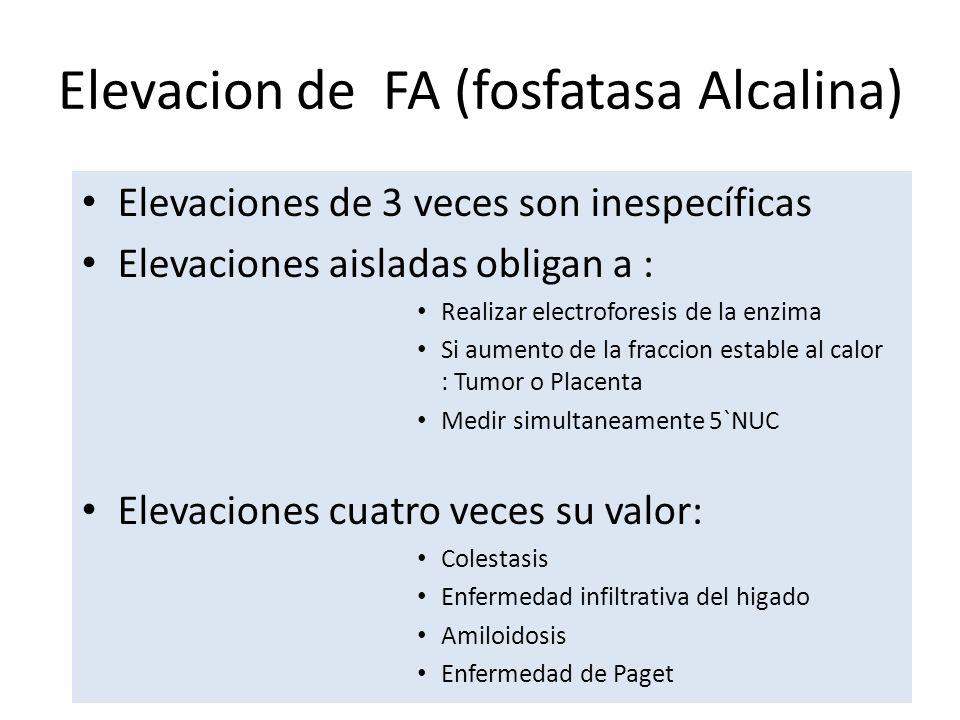 Elevacion de FA (fosfatasa Alcalina) Elevaciones de 3 veces son inespecíficas Elevaciones aisladas obligan a : Realizar electroforesis de la enzima Si