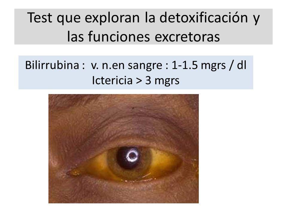 Test que exploran la detoxificación y las funciones excretoras Bilirrubina : v. n.en sangre : 1-1.5 mgrs / dl Ictericia > 3 mgrs