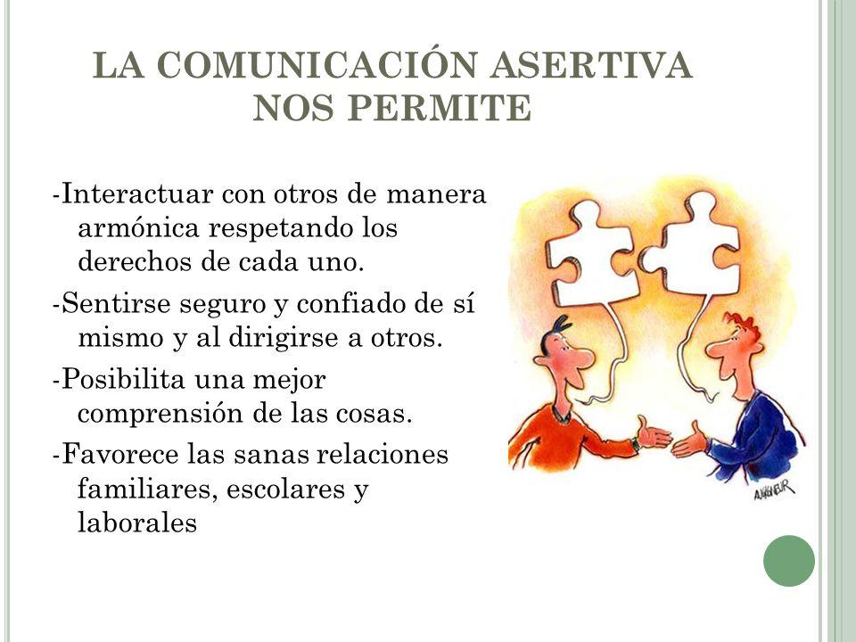 LA COMUNICACIÓN ASERTIVA NOS PERMITE -Interactuar con otros de manera armónica respetando los derechos de cada uno. -Sentirse seguro y confiado de sí