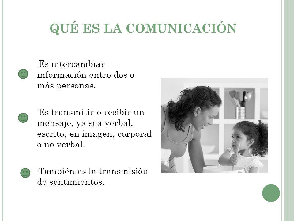 QUÉ ES LA COMUNICACIÓN Es intercambiar información entre dos o más personas. Es transmitir o recibir un mensaje, ya sea verbal, escrito, en imagen, co