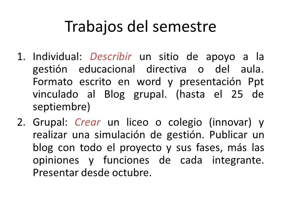 Trabajos del semestre 1.Individual: Describir un sitio de apoyo a la gestión educacional directiva o del aula. Formato escrito en word y presentación