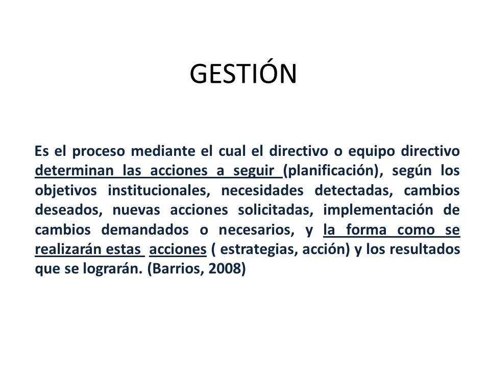 GESTIÓN Es el proceso mediante el cual el directivo o equipo directivo determinan las acciones a seguir (planificación), según los objetivos instituci