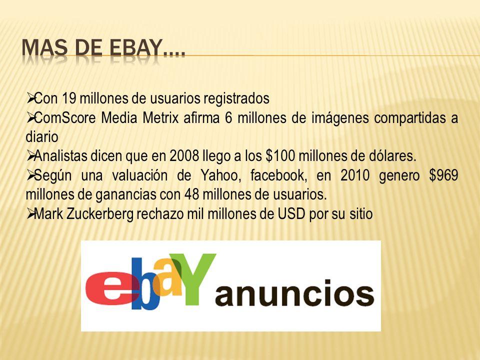 Con 19 millones de usuarios registrados ComScore Media Metrix afirma 6 millones de imágenes compartidas a diario Analistas dicen que en 2008 llego a los $100 millones de dólares.