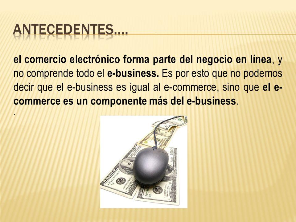 el comercio electrónico forma parte del negocio en línea, y no comprende todo el e-business.