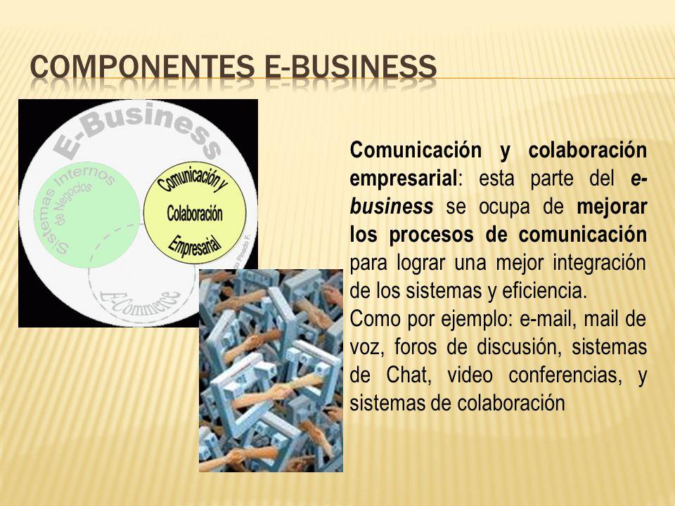 Comunicación y colaboración empresarial : esta parte del e- business se ocupa de mejorar los procesos de comunicación para lograr una mejor integración de los sistemas y eficiencia.