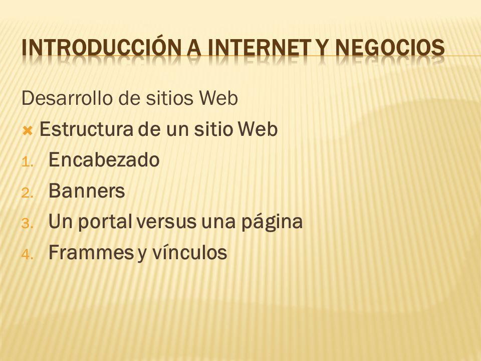 Desarrollo de sitios Web Estructura de un sitio Web 1. Encabezado 2. Banners 3. Un portal versus una página 4. Frammes y vínculos
