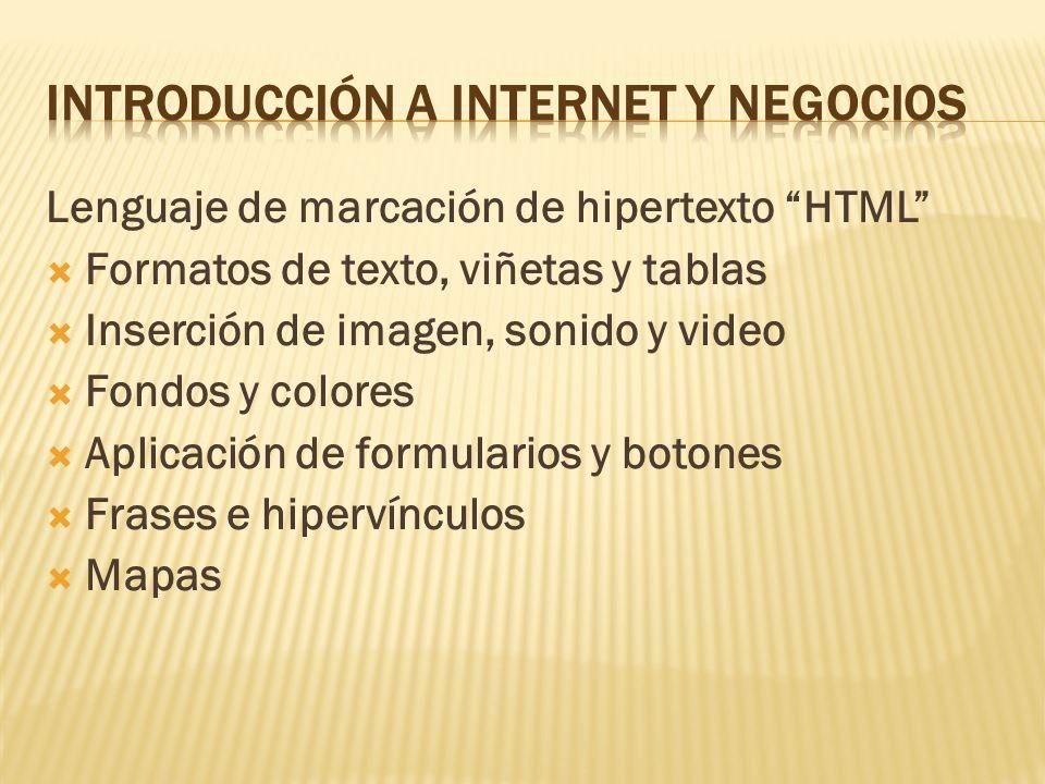 Lenguaje de marcación de hipertexto HTML Formatos de texto, viñetas y tablas Inserción de imagen, sonido y video Fondos y colores Aplicación de formul