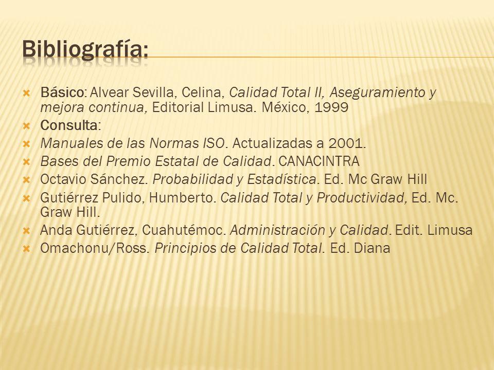 Básico: Alvear Sevilla, Celina, Calidad Total II, Aseguramiento y mejora continua, Editorial Limusa. México, 1999 Consulta: Manuales de las Normas ISO