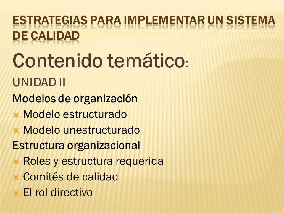 Contenido temático : UNIDAD II Modelos de organización Modelo estructurado Modelo unestructurado Estructura organizacional Roles y estructura requerid