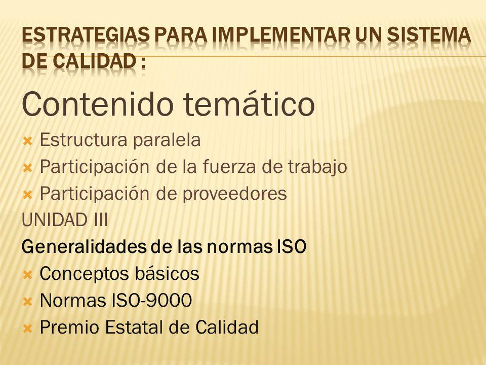 Contenido temático Estructura paralela Participación de la fuerza de trabajo Participación de proveedores UNIDAD III Generalidades de las normas ISO C