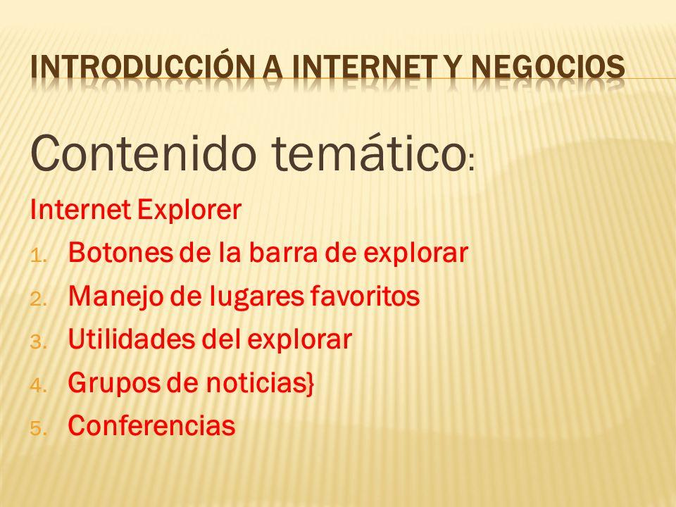 Contenido temático : Internet Explorer 1. Botones de la barra de explorar 2. Manejo de lugares favoritos 3. Utilidades del explorar 4. Grupos de notic