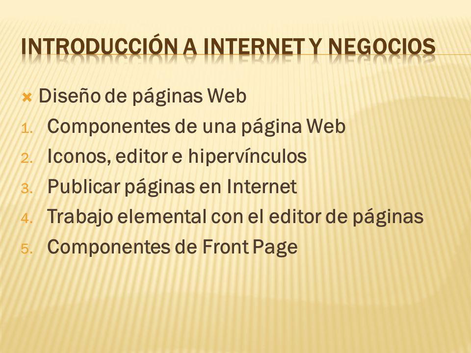 Diseño de páginas Web 1. Componentes de una página Web 2. Iconos, editor e hipervínculos 3. Publicar páginas en Internet 4. Trabajo elemental con el e