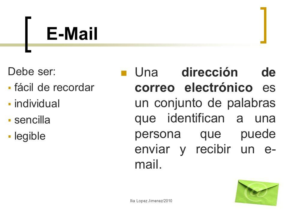 E-Mail Una dirección de correo electrónico es un conjunto de palabras que identifican a una persona que puede enviar y recibir un e- mail. Debe ser: f