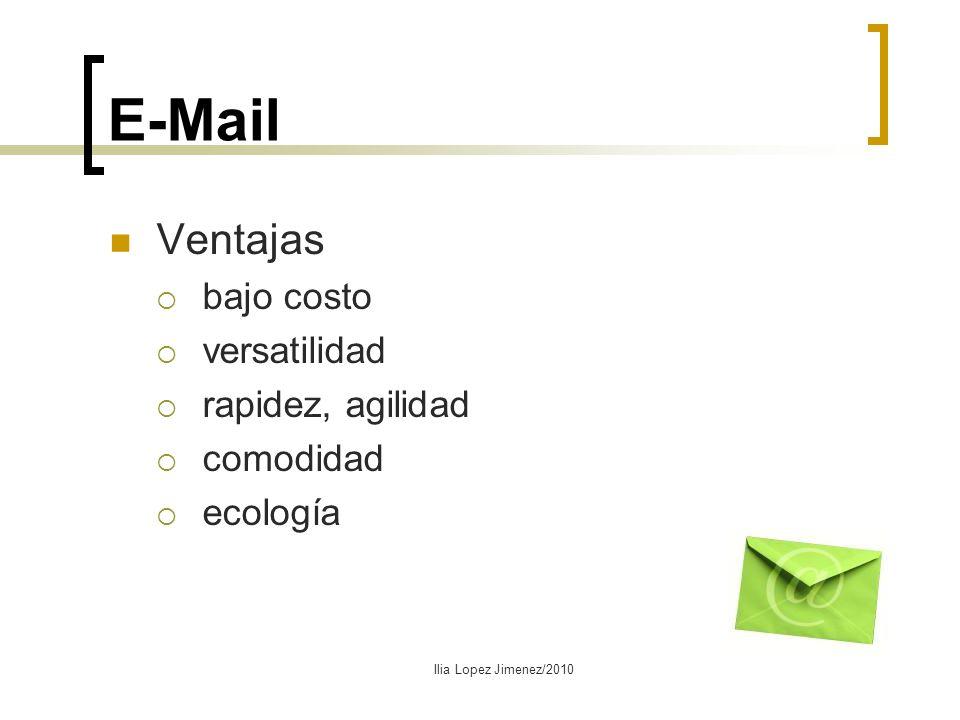 E-Mail Ventajas bajo costo versatilidad rapidez, agilidad comodidad ecología Ilia Lopez Jimenez/2010