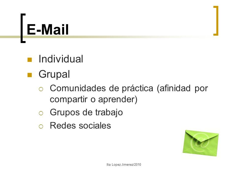 E-Mail Individual Grupal Comunidades de práctica (afinidad por compartir o aprender) Grupos de trabajo Redes sociales Ilia Lopez Jimenez/2010