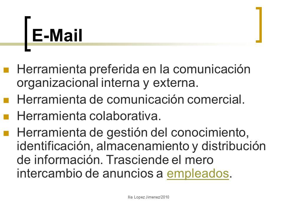 E-Mail Herramienta preferida en la comunicación organizacional interna y externa. Herramienta de comunicación comercial. Herramienta colaborativa. Her