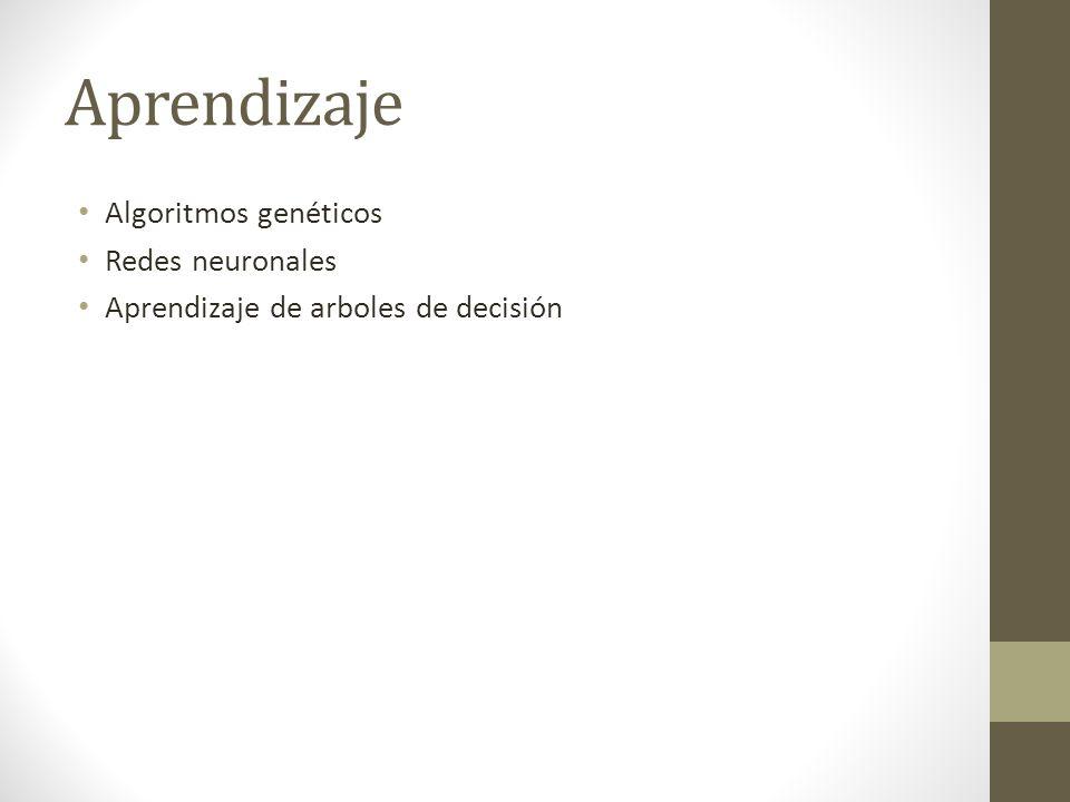 Aprendizaje Algoritmos genéticos Redes neuronales Aprendizaje de arboles de decisión