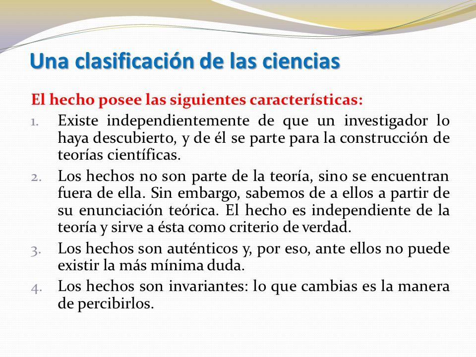 Una clasificación de las ciencias El hecho posee las siguientes características: 1.