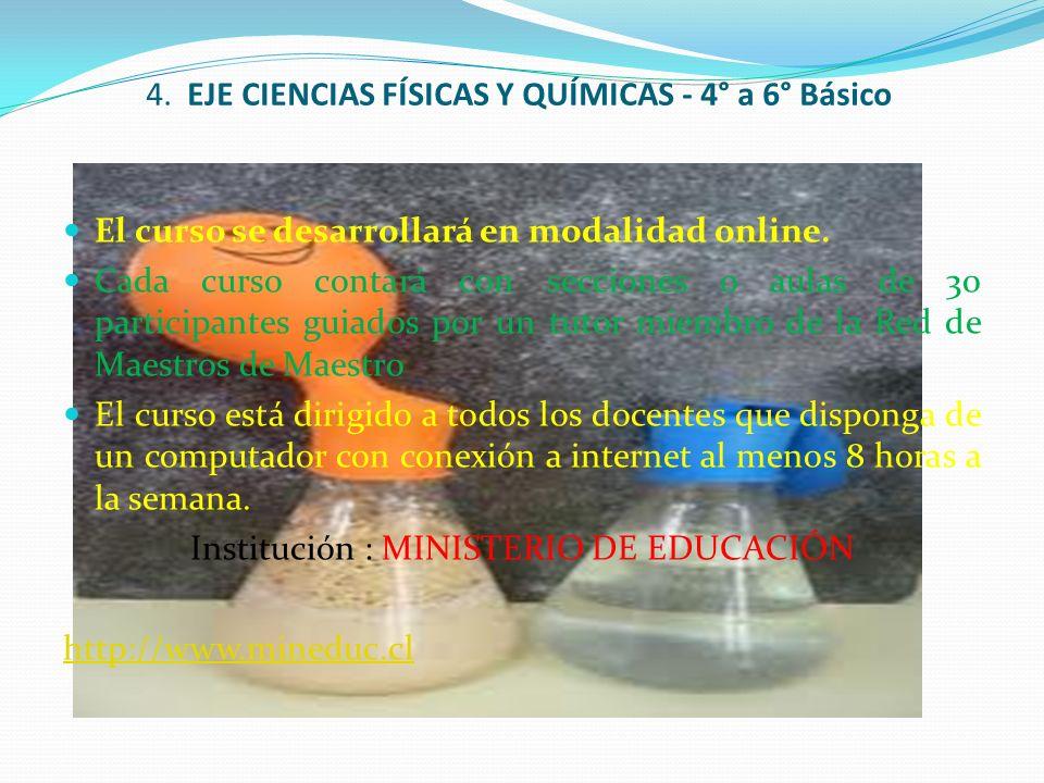 4. EJE CIENCIAS FÍSICAS Y QUÍMICAS - 4° a 6° Básico El curso se desarrollará en modalidad online. Cada curso contará con secciones o aulas de 30 parti