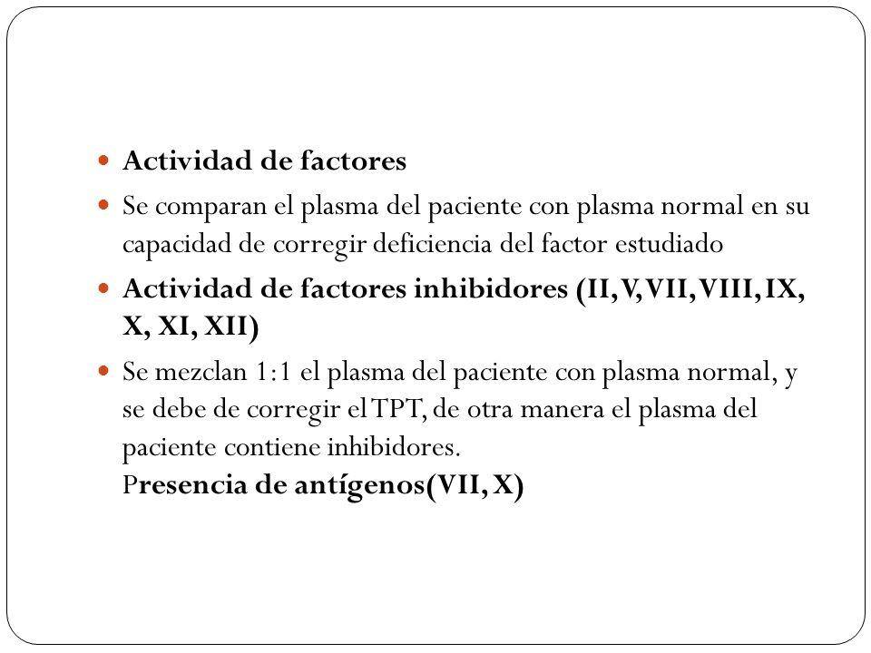 Actividad de factores Se comparan el plasma del paciente con plasma normal en su capacidad de corregir deficiencia del factor estudiado Actividad de f