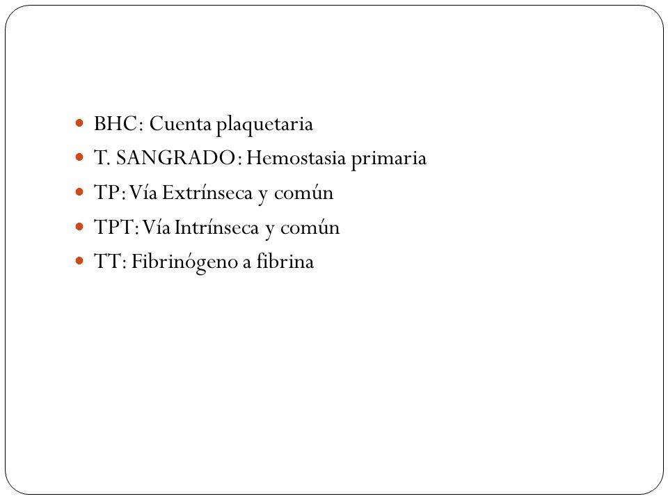 BHC: Cuenta plaquetaria T. SANGRADO: Hemostasia primaria TP: Vía Extrínseca y común TPT: Vía Intrínseca y común TT: Fibrinógeno a fibrina