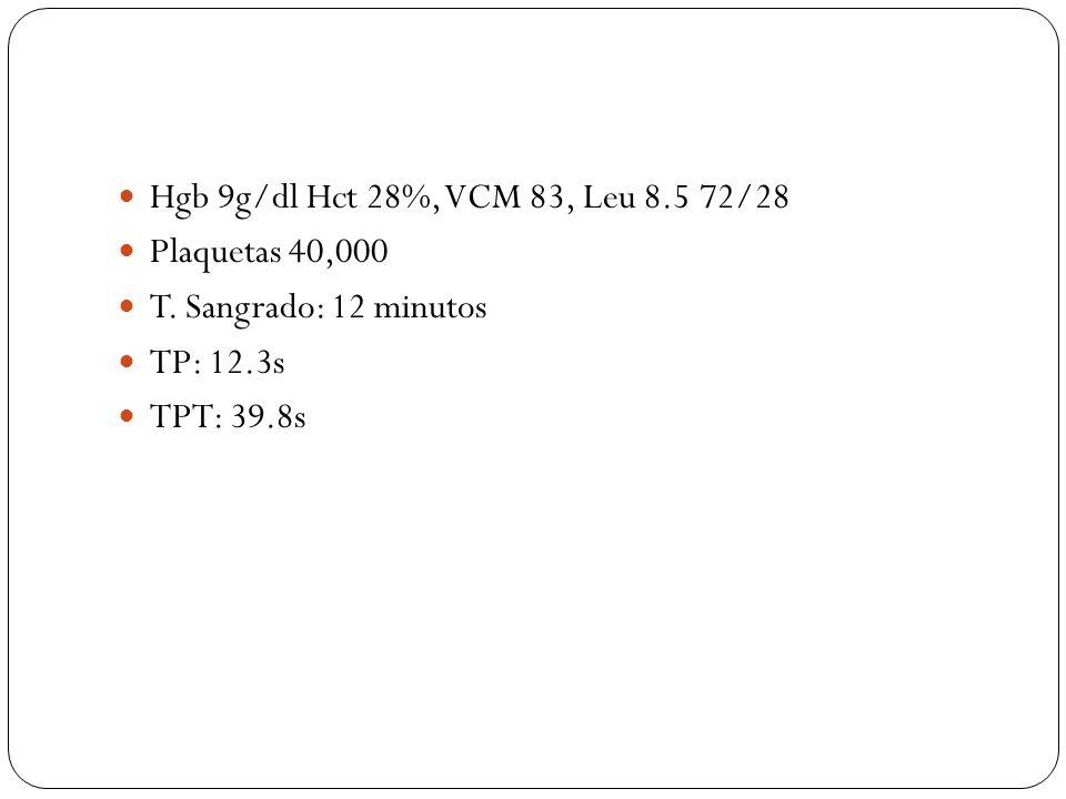 Hgb 9g/dl Hct 28%, VCM 83, Leu 8.5 72/28 Plaquetas 40,000 T. Sangrado: 12 minutos TP: 12.3s TPT: 39.8s