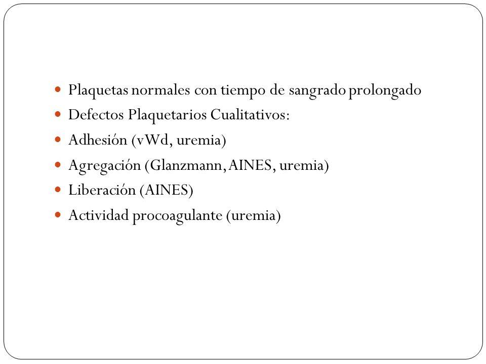 Plaquetas normales con tiempo de sangrado prolongado Defectos Plaquetarios Cualitativos: Adhesión (vWd, uremia) Agregación (Glanzmann, AINES, uremia)
