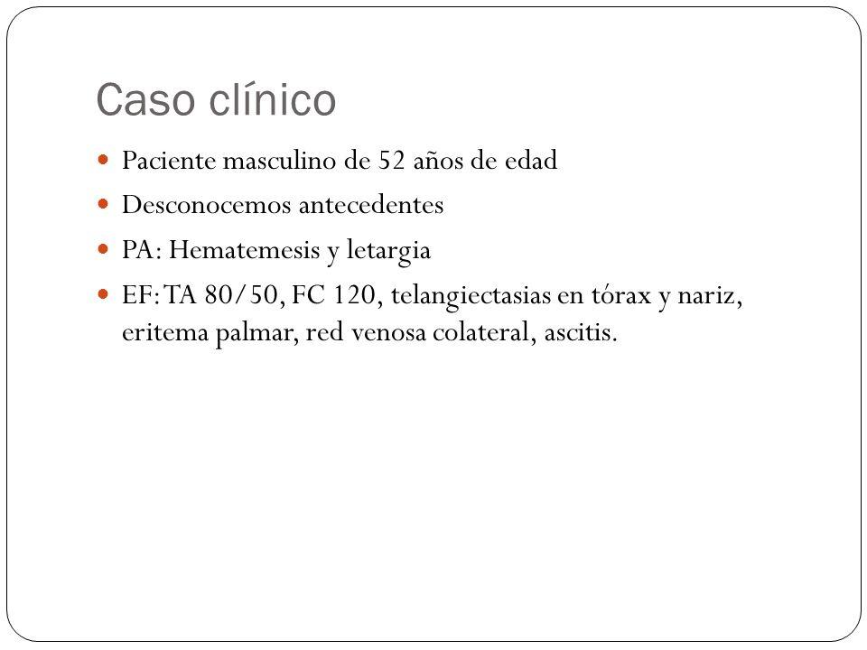 Caso clínico Paciente masculino de 52 años de edad Desconocemos antecedentes PA: Hematemesis y letargia EF: TA 80/50, FC 120, telangiectasias en tórax