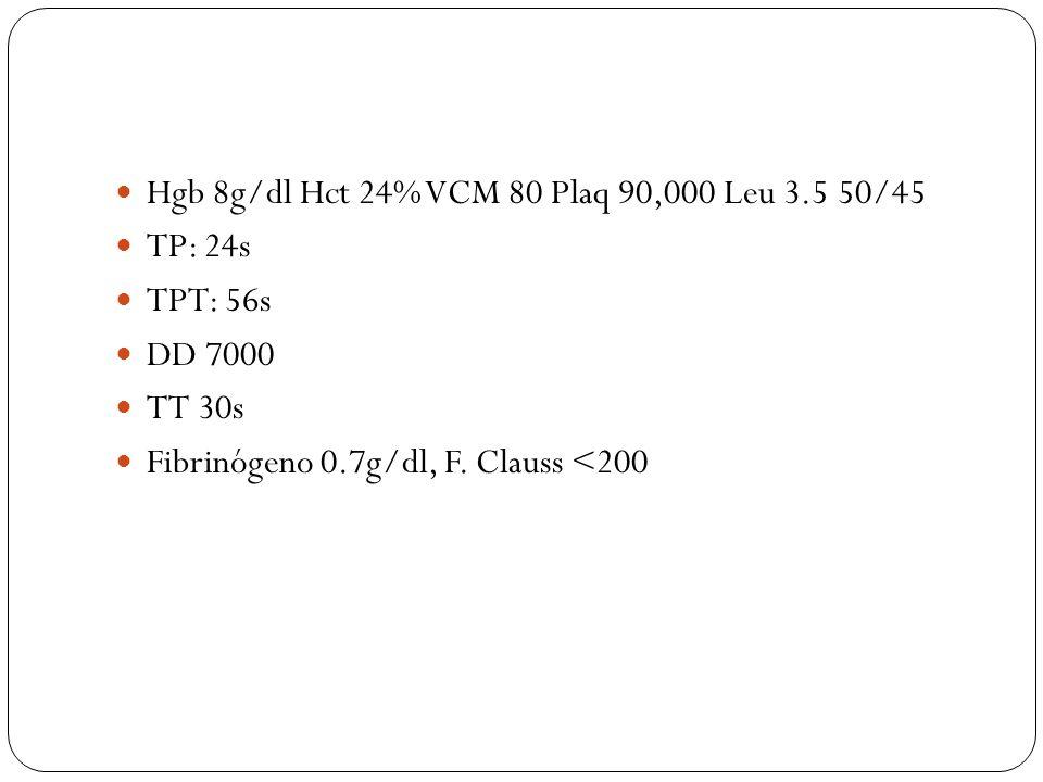 Hgb 8g/dl Hct 24% VCM 80 Plaq 90,000 Leu 3.5 50/45 TP: 24s TPT: 56s DD 7000 TT 30s Fibrinógeno 0.7g/dl, F. Clauss <200