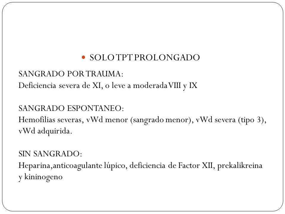 SOLO TPT PROLONGADO SANGRADO POR TRAUMA: Deficiencia severa de XI, o leve a moderada VIII y IX SANGRADO ESPONTANEO: Hemofilias severas, vWd menor (san